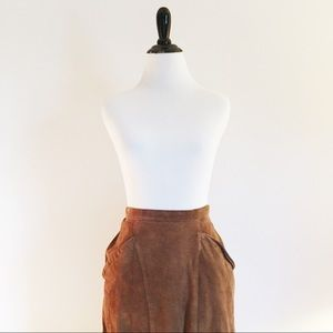 🍁 Vintage High Waisted Suede Maxi Skirt